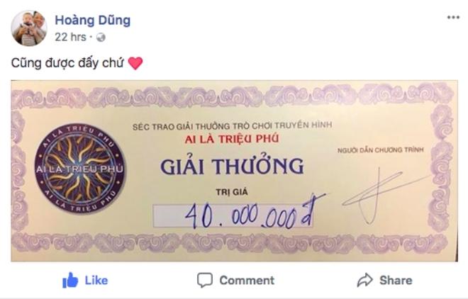 """Ông trùm """"Phan Quân"""" thắng giải 40 triệu của chương trình Ai là triệu phú - 1"""