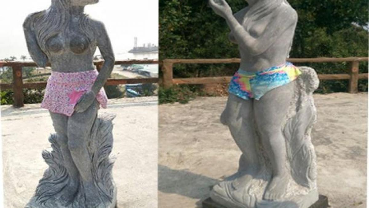 Bị chê phản cảm, tượng 12 con giáp khỏa thân ở Hải Phòng được mặc đồ bơi - Tin tức trong ngày