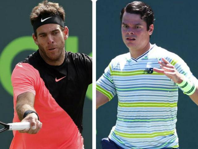 """Del Potro - Raonic: Tuyệt đỉnh giao bóng, """"đấu súng"""" nghẹt thở (tứ kết Miami Open)"""