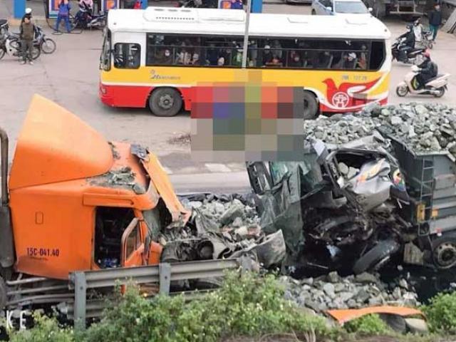 Hà Nội: Xe tải và container đấu đầu kinh hoàng trên quốc lộ 1A