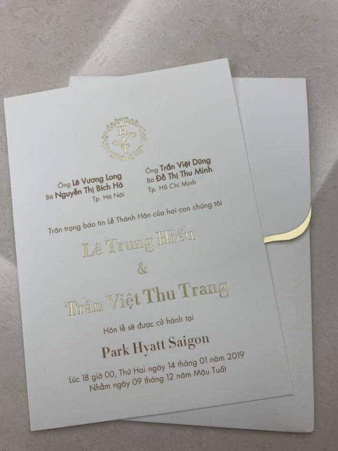 Lê Hiếu và vợ 9X lộ thiệp cưới mời khách dự tiệc ở khách sạn 5 sao - 1