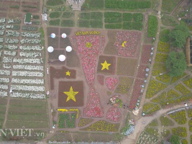 Flycam: Ngắm cúp Asian Cup làm từ hàng vạn cây hoa giữa lòng Hà Nội