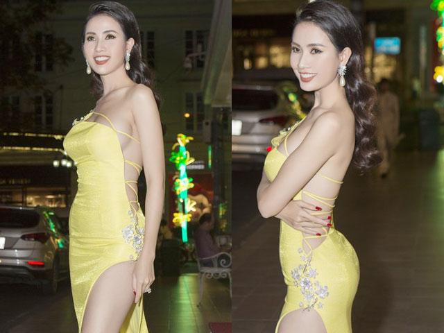 """Bộ váy """"không dám nhìn nghiêng"""" của hoa hậu quê Tiền Giang"""