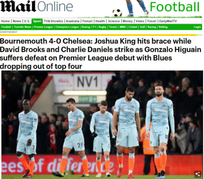 Chelsea thua 0-4: Báo Anh lên án Sarri, lo MU & Arsenal cướp vé C1 - 1