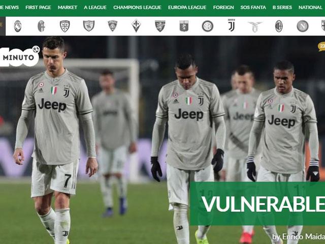 """Juventus thua thảm: Ronaldo bị báo Italia chê màn trình diễn """"ác mộng"""""""