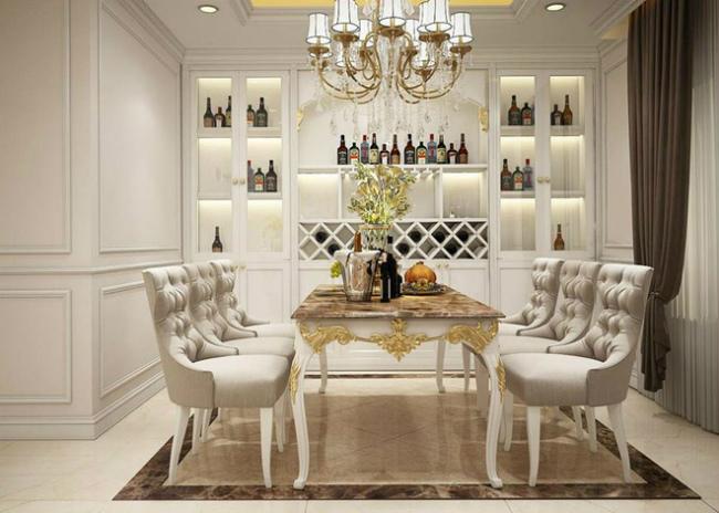 Thiết kế sang trọng trong căn hộ được thiết kế tông màu trắng hiện đại, toát lên vẻ đẹp cao cấp.