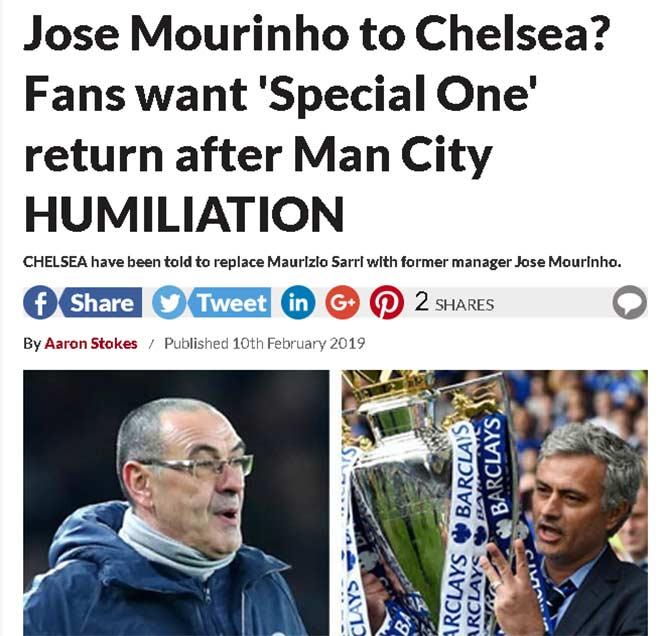 """Chelsea thua thảm: Sarri trước """"đoạn đầu đài"""", fan muốn Mourinho giải cứu - 3"""