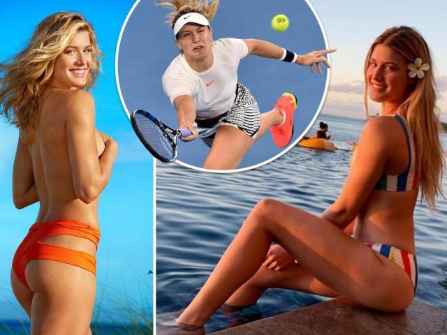"""Mỹ nhân tennis Bouchard cởi áo diện bikini """"lả lơi"""" trên biển"""