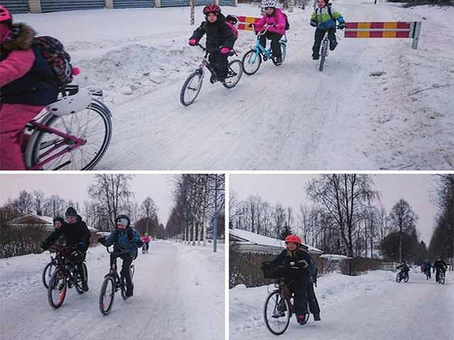 Bất chấp giá rét -17 ° C, trẻ em Hà Lan vẫn đạp xe đến trường mỗi ngày