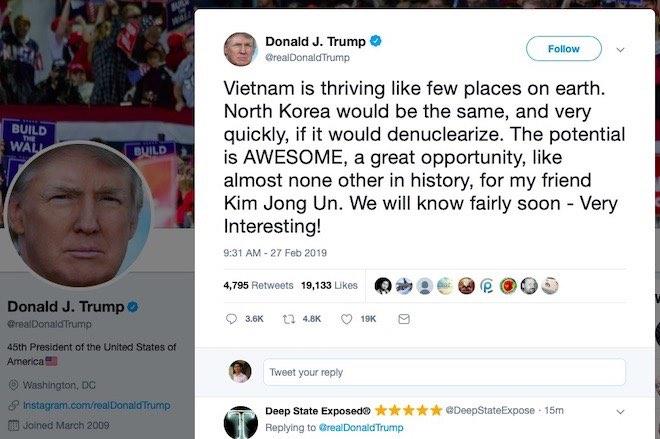 """Tổng thống Donald Trump dùng Twitter gửi thông điệp mới tới """"người bạn Kim Jong Un"""" - 1"""