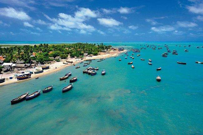 Vịnh Mannar, Tamil Nadu: Vùng nước nguyên sơ, bầu trời trong vắt như pha lê với cây xanh của hòn đảo gần đó bằng cách vẽ nên bức tranh hoàn hảo.