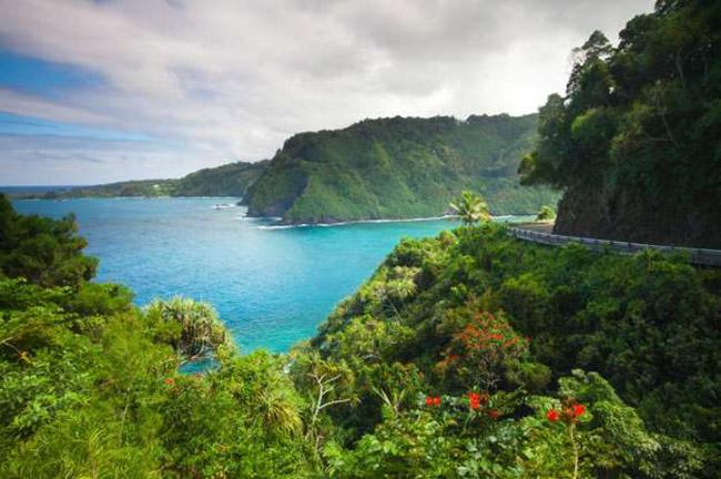 Đường cao tốc Hana, Hawaii: Đường cao tốc Hana là con đường nổi tiếng và quý giá nhất Hawaii Hawaii. Bạn sẽ được khám phá gần 65 dặm của vẻ đẹp tinh khiết và đầy hồi hộp.