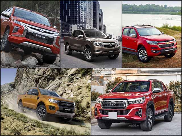 Top 5 xe bán tải bán chạy nhất Việt Nam tháng 2/2019