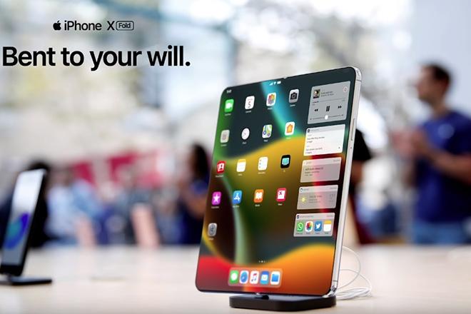 iPhone gập lại đẹp mê ly thách thức Galaxy Fold và Mate X - 1