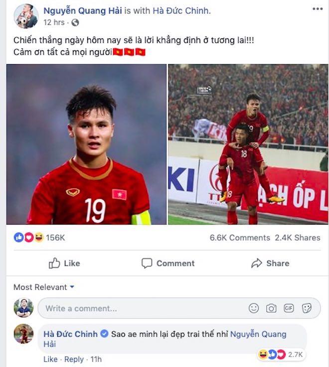 """Đức Chinh vào Facebook Quang Hải tự khen """"đẹp trai"""" và phản ứng của dân mạng - 1"""