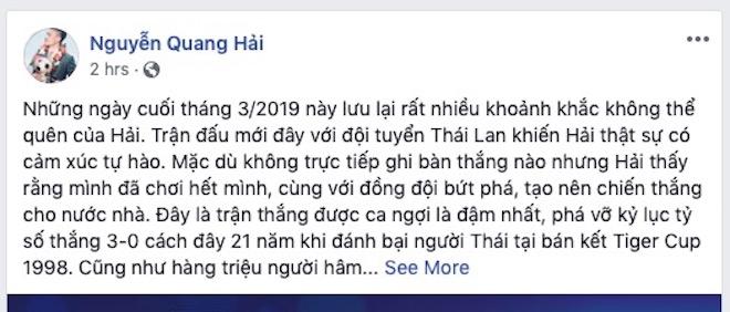 """2 ngày sau trận vùi dập U23 Thái Lan, dân mạng vẫn """"rần rần"""" trên Facebook Quang Hải - 1"""