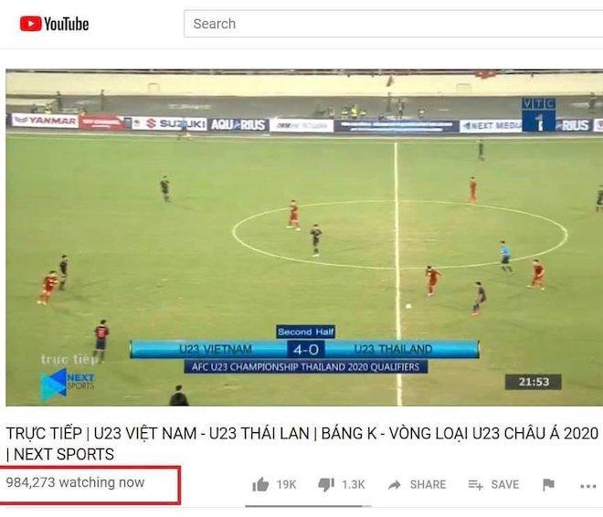 Trận đấu U23 Việt Nam và U23 Thái Lan đạt kỷ lục người xem trên YouTube và Facebook - 1