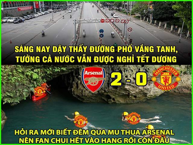 """MU thảm bại trước Arsenal, fan đưa nhau """"chui vào hang"""" đi trốn"""