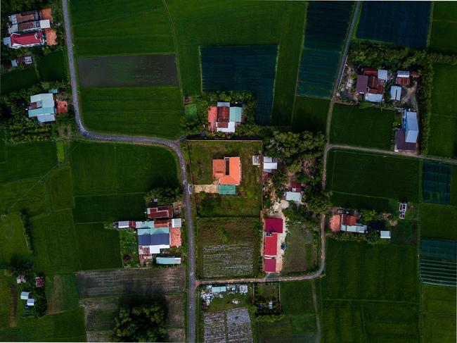 Mô hình nhà ở này được thiết kế như một ốc đảo, được bao quanh bởi những khu vườn với cây dừa, cây cau cùng những cánh đồng lúa rộng lớn đang dần biến mất.