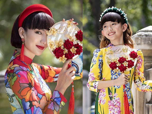 Con gái Hoa hậu Ngọc Diễm lớn phổng phao, diện áo dài đón Tết cùng mẹ