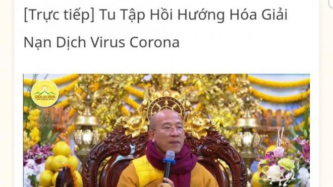 """Đã xử lý trụ trì chùa Ba Vàng vì tổ chức """"hóa giải"""" virus Corona - 1"""
