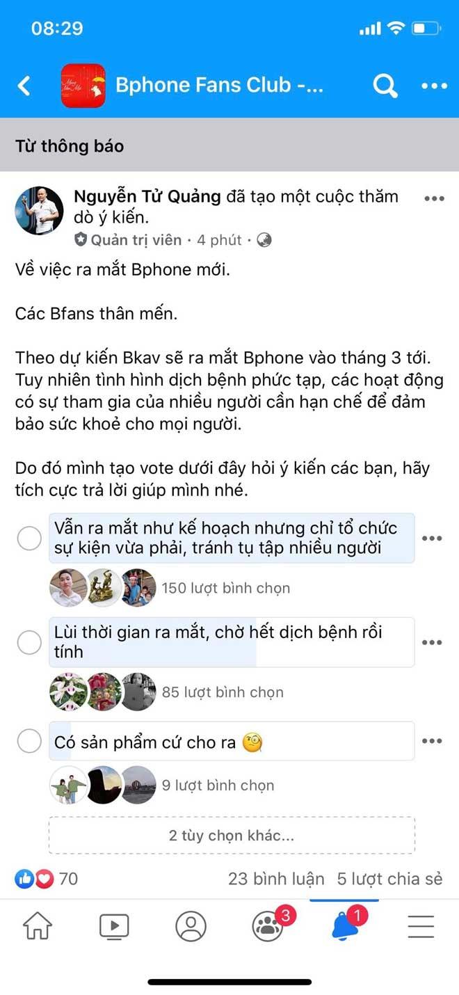 """CEO Nguyễn Tử Quảng: """"Bphone 4 sẽ ra mắt vào tháng 3/2020, nhưng trưng cầu ý kiến lùi thời điểm ra mắt do dịch Corona"""" - 1"""