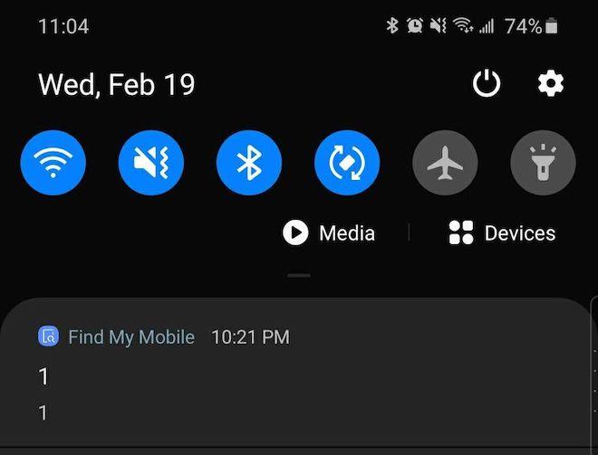 """Find My Mobile trên điện thoại Samsung gửi thông báo lạ """"1 1"""": Đó là gì? - 1"""