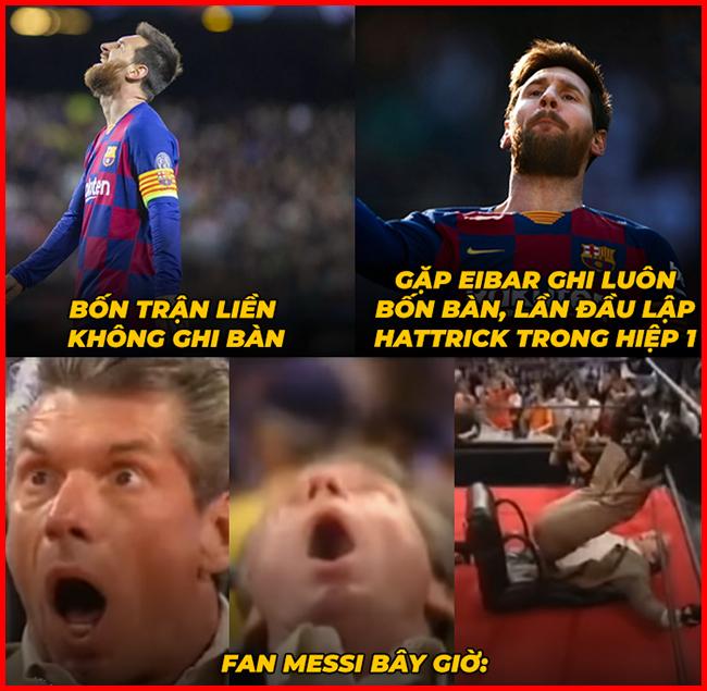 Messi ghi poker giải hạn sau chuỗi 4 trận đấu tịt ngòi.