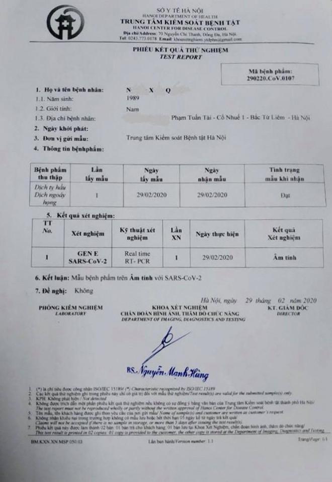 Kết quả xét nghiệm đối với nam thanh niên 31 tuổi tử vong ở Hà Nội - 1