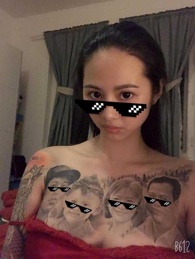 Để minh chứng cho sự sắc nét và chuẩn xác của hình xăm, cô gái dùng chụp ảnh ghi lại bức chân dung 4 người trên ngực mình. Và 4 khuôn mặt được cô xăm trên cơ thể đều được điện thoại nhận diện rõ nét.