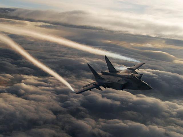 Tiêm kích MiG-31 đánh chặn mục tiêu trên bán đảo có hàng chục ngọn núi lửa của Nga