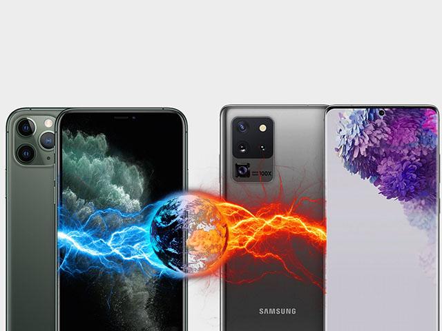 """Samsung Galaxy S20 Ultra đối đầu iPhone 11 Pro Max: """"Long tranh hổ đấu"""""""