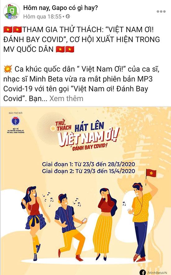 """Mạng xã hội Gapo đồng hành cùng """"Việt Nam Ơi! Đánh Bay COVID"""" - 1"""
