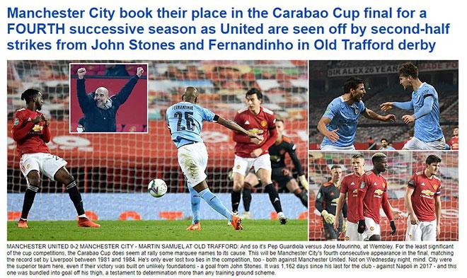 Man City quật ngã MU bán kết League Cup, báo Anh chê Solskjaer không biết đá cúp - 1