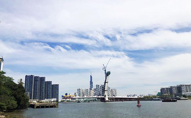 """Ảnh: Cầu biểu tượng mới ở TP.HCM bắc qua sông Sài Gòn """"đứng hình"""" sau 5 năm khởi công - 12"""
