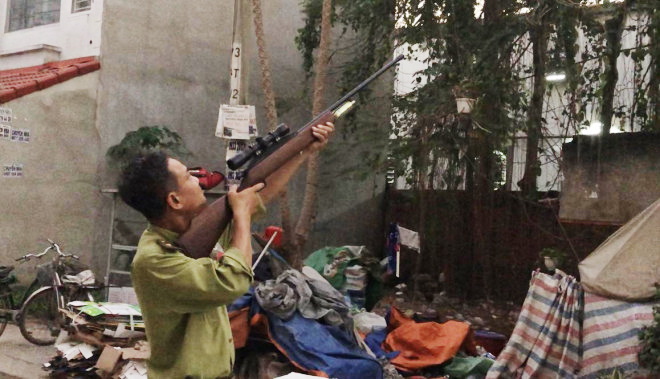 Đã bắt được 2 con khỉ trong đàn khỉ đại náo khu dân cư ở quận 12 - 1