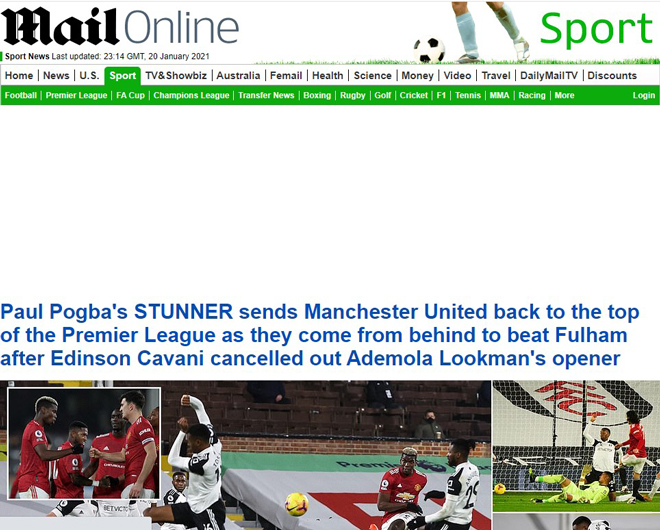"""MU trở lại ngôi đầu: Báo Anh thán phục Pogba, tin """"Quỷ đỏ"""" đủ sức vô địch - 1"""