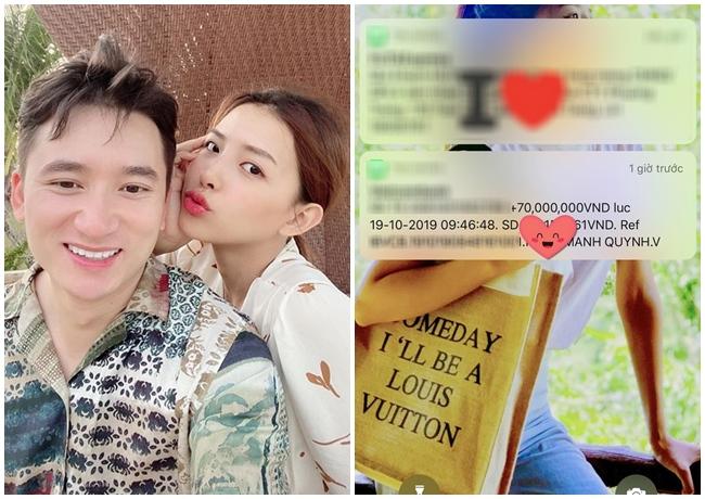 Không chỉ hết mực yêu thương, cưng chiều Khánh Vy, Phan Mạnh Quỳnh còn rất hào phóng. Dịp 20.10.2019, anh chuyển khoản tặng cô 70 triệu đồng.