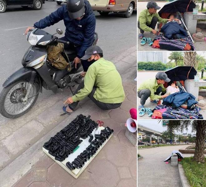 Mong ước trong năm mới của ông bố ôm con đi bán bọc chân chống xe máy - 1