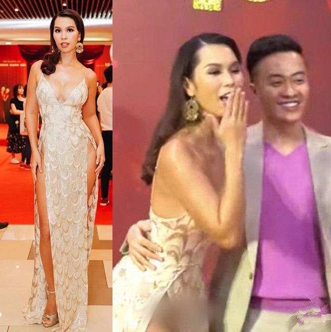Dịp đầu năm, siêu mẫu Hà Anh diện thiết kế xẻ tà cao tới hông đã gặp phải sự cố.