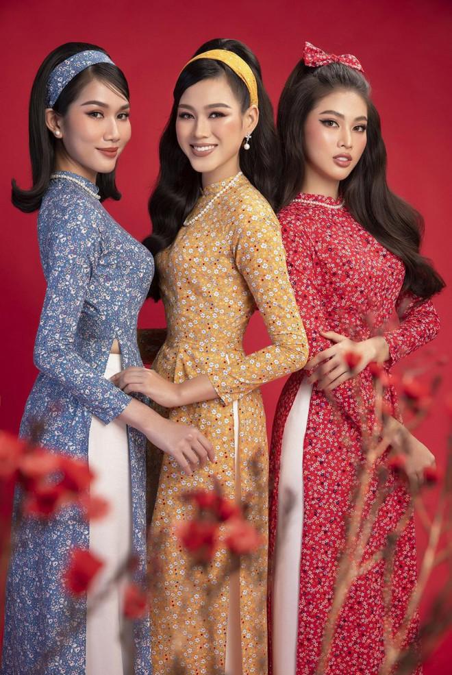 Diện áo dài Tết theo phong cách xưa, Top 3 HHVN 2020 đẹp như minh tinh thập niên 50 - 9