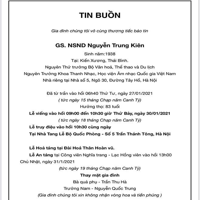 Thông tin lễ tang NSND Trung Kiên tại Hà Nội - 1