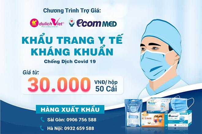Du Lịch Việt & Ecom Med trợ giá khẩu trang y tế phòng dịch chỉ từ 30.000 đồng/ hộp - 1