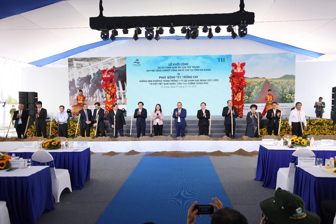 """Tập đoàn TH khởi công Dự án chăn nuôi bò sữa công nghệ cao quy mô lớn nhất Đồng bằng sông Cửu Long, khởi động """"Tết trồng cây"""" tại An Giang - 1"""