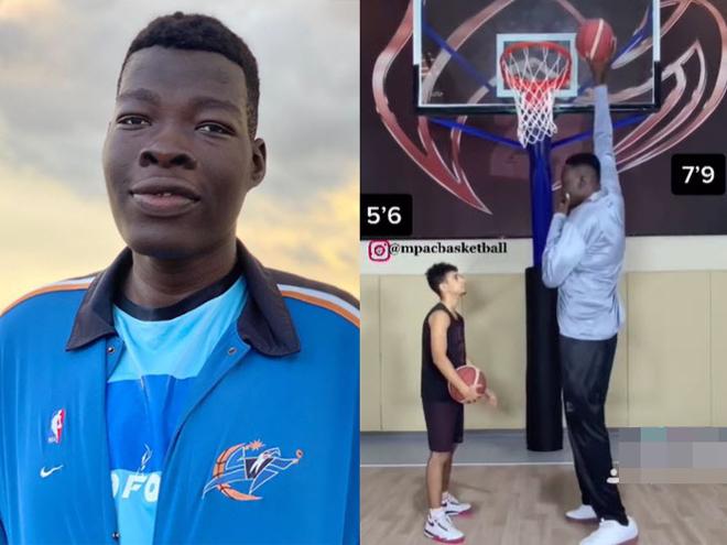 Cầu thủ 18 tuổi cao lừng lững 2m36 gây sốt bóng rổ, giơ tay có ngay điểm - 1