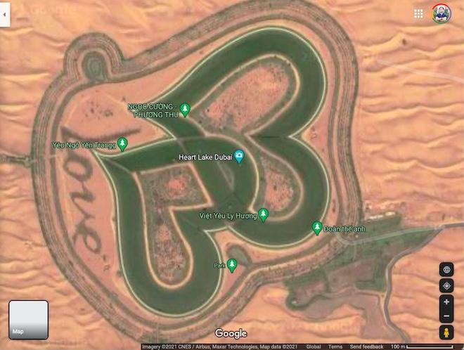 """Liên tục tạo địa điểm ảo """"phá banh"""" Heart Lake của Dubai trên bản đồ vệ tinh - 1"""