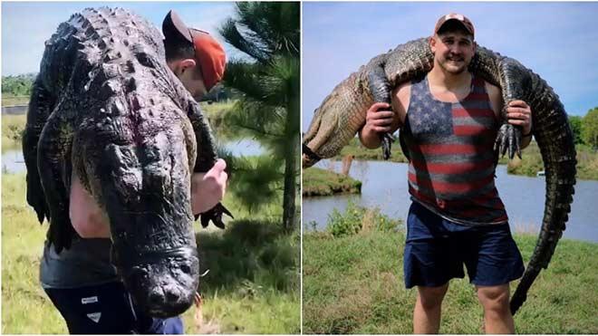 Trợn tròn mắt cầu thủ Mỹ săn quà cưới: Giết cá sấu 100kg rồi vác vai - 1