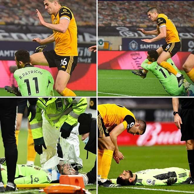 Kinh hoàng chấn thương của thủ môn Wolverhampton: Đầu gối tông thẳng vào mặt, bất tỉnh trên sân - 1