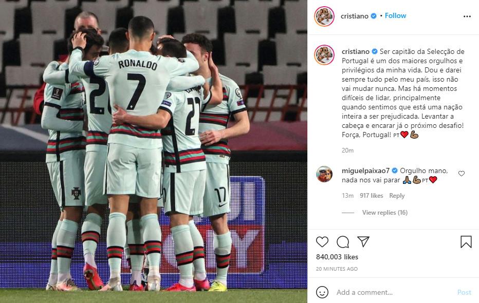 """Ronaldo tố ĐT Bồ Đào Nha bị hãm hại, đăng """"tâm thư"""" gay gắt trên mạng xã hội - 1"""