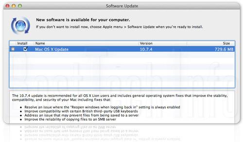 Apple phát hành bản cập nhật OS X Lion 10.7.4 - 1